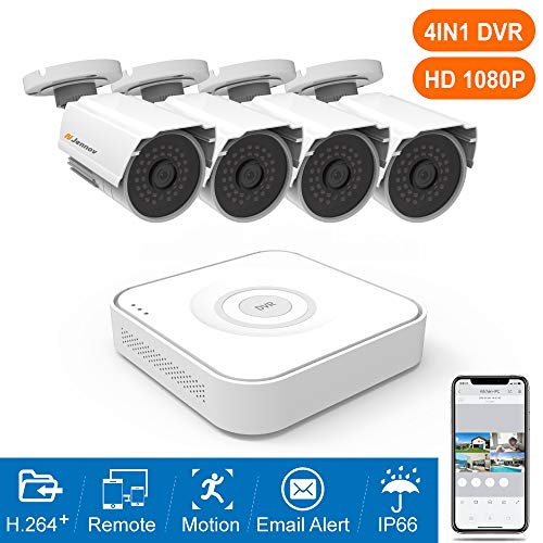 Jennov 1080P Home Security Camera System 8CH CCTV DVR Recorder 4pcs 2MP Weatherproof Bullet Cameras Night Vision,Remote Access,Motion Detection(No Hard Drive)