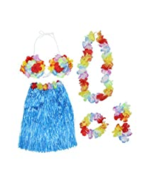 Tinksky Hawaiian Set Luau Hula Skirt Bra Garland Wristband Headband Necklace (Blue)