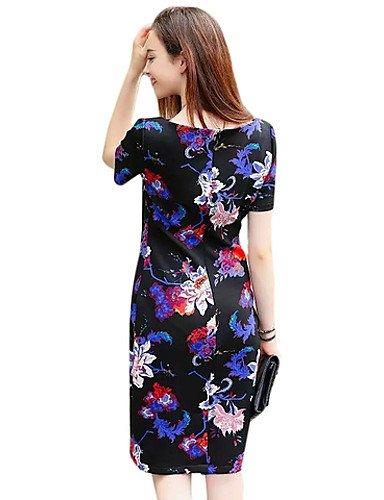 PU&PU Robe Aux femmes Gaine Simple / Street Chic,Fleur Col Arrondi Au dessus du genou Coton , black-m , black-m