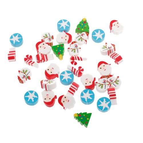 Blabroge Approx. 30Pcs Mini XMAS Pencil Rubber Eraser Santa Kid Party Favor Gift