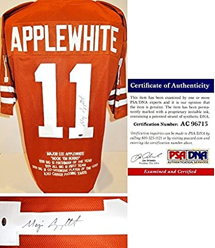 0cf460fe1 Major Applewhite Signed - Autographed Texas Longhorns Custom Jersey with  Embroidered Stats - PSA DNA