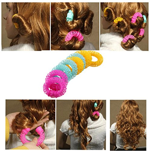 Spiral Steel Curry Comb - Huphoon 8 Pcs Exquisite Hairdress Creative Hair Styling Roller Curler Spiral Curls DIY Beauty Tools