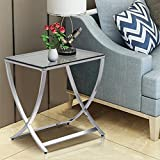 stainless steel table lamp - Yaheetech Stylish Clear Tempered Glass Small End Table Chrome Finish Living Room Furniture, Silver