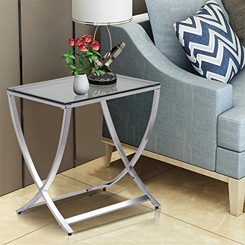 Yaheetech Stylish Clear Tempered Glass Small End Table Chrome Finish Living Room Furniture, Silver (End Glass Top Square Table)