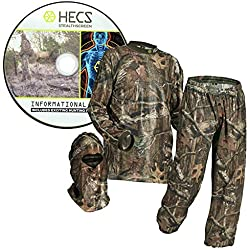 HECS Suit Deer Hunting Clothing with Human Energy Concealment Technology - Camo 3 Piece Shirt, Pants, Headcover - Lightweight Breathable in Mossy Oak Country & Realtree Xtra | Realtree, Large
