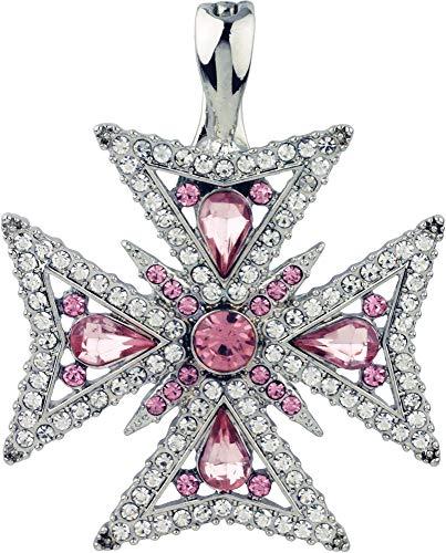 - Wearable Art by Roman Maltese Cross Pendant Pink/Clear/Silver Tone