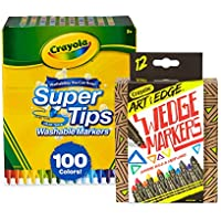 Crayola 100 Ct Supertips/Art with Edge Marker Bundle...