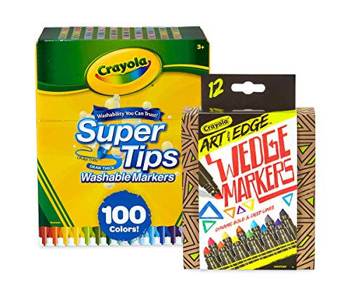 Crayola 100 Ct Supertips/Art with Edge Marker Bundle Washable Markers (Amazon Exclusive)
