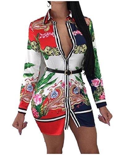 Coolred-femmes Cardigan Élégant Impression Floral Commuer Robe Courte Sexy Simple Boutonnage Taille Plus Rouge Blouse