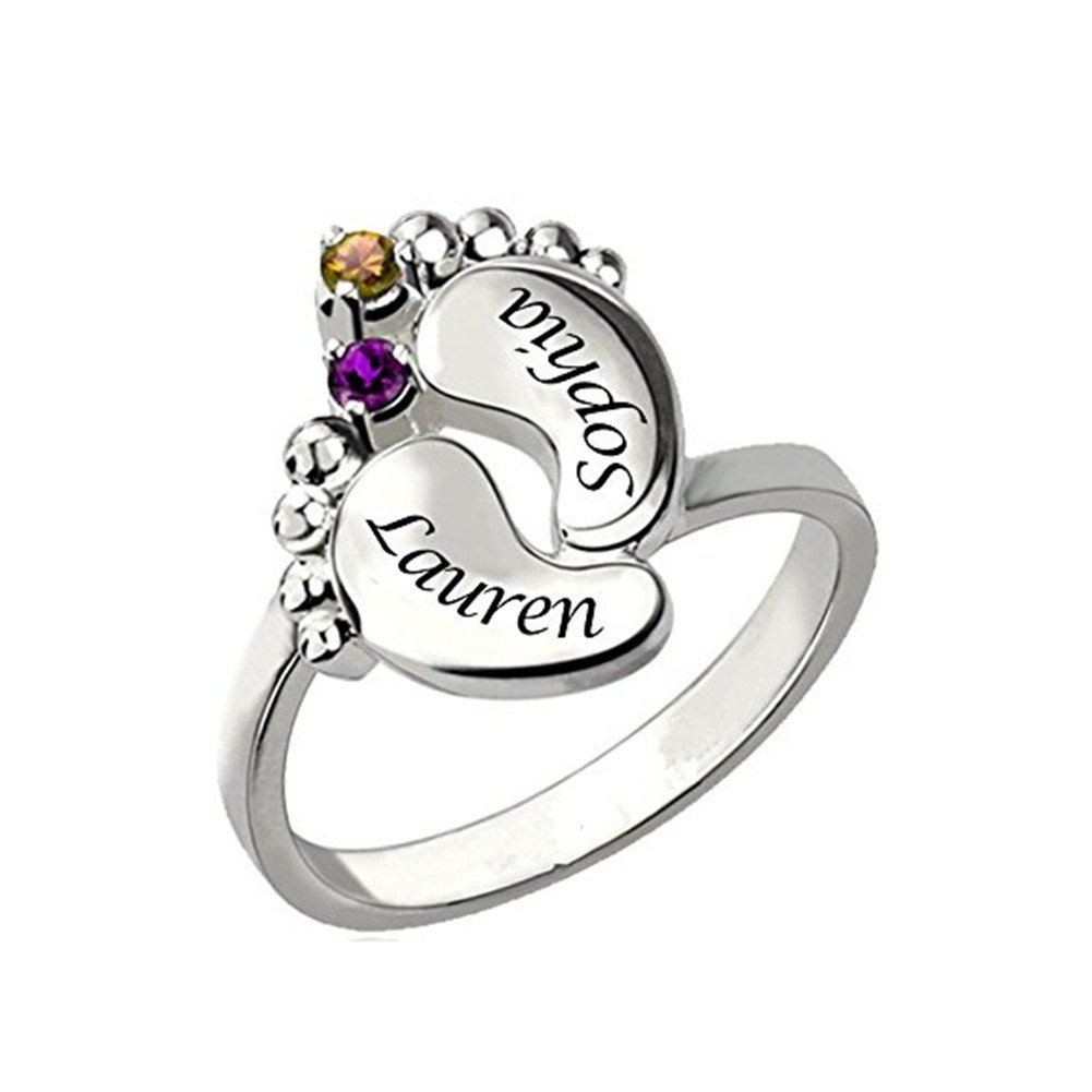 FUJIN Personalized 925 Sterling Silver Birthstone Feet Ring Custom Made with Any Names
