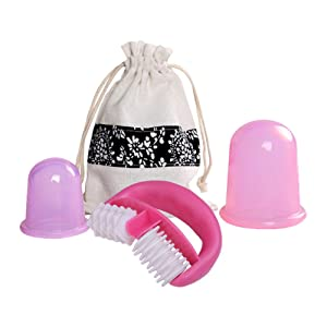 De.De. Anti Cellulite Cup Set with Cellulite Massager - Vacuum Suction Cup for Cellulite Treatment Cellulite Remover - Silicone Suction Cup Set for Cupping Therapy (2 Cups + 1 Massage Roller)