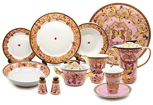 Royalty Porcelain Vintage Pink 49-pc Dinnerware Set 'Ladybug', Premium Bone China
