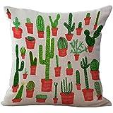 Funda de Cojín Almohada Lino Caso Algodón Impresión de Cactus Tropical Decoración Coche Casa - 5#