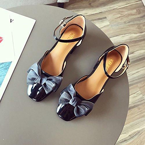 GTVERNH Zapatos de Boda para Mujer (Piel de Lazo de Verano, Cabeza Cuadrada Hueca, Tacón bajo) negro