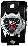 Nemesis Men's LBB929R Independent Red Skull on Black Dial Leather Cuff Watch
