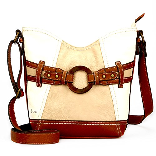 B.O.C. Womans Fashion Designer Hudson Tulip Cross Body Top Zip Shoulder Bag (Cream Handbag Purse)