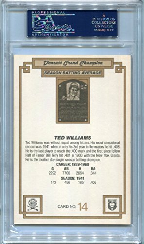 Ted Williams Boston Red Sox PSA/DNA Certified Authentic Autograph 1984 Donruss Grand Champion #14 (Autographed Baseball Cards)