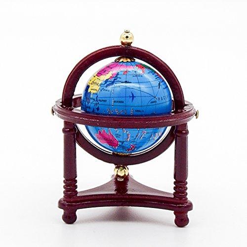 Odoria 1:12 Miniature Blue World Globe with Wooden Stand Dollhouse Furniture Accessories