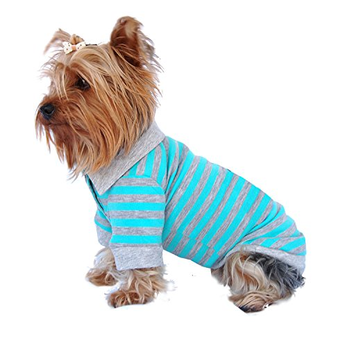 Anima Blue-Grey Stripe Polo Style Pet Shirt Clothes, X-Large