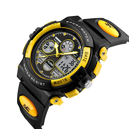 IRELOJ Kids Sports Watch Led Light Analog Digital Waterproof Alarm Watch for Boys,Yellow by IRELOJ (Image #1)