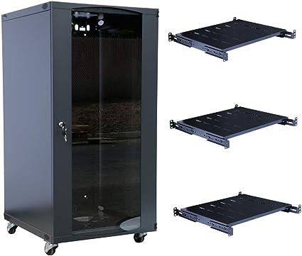 RAISING ELECTRONICS 22U Wall Mount Network Server Cabinet Rack Enclosure Door Lock 600MM Deep