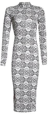 Womens Nicole Polo Neck Long Sleeved Pattern Midi Dress (Mtc) (4/6 (Uk 8/10), Black/white)