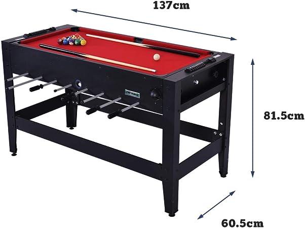 WIN.MAX WinMax Mesa Juegos 2 en 1, Mesa de Billar y Futbolín MDF Table Football Table Game, Mesa de Billar con Tissu Rouge, 137x60.5x81.5cm: Amazon.es: Juguetes y juegos