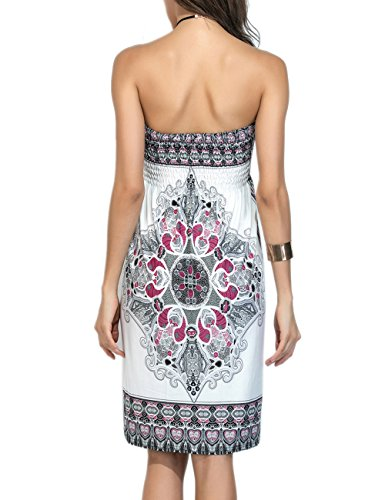 Sexyshine Strapless Cover Casual Dress Tube Floral Mini Wrapped Summer Womens Print Beachwear White Chest up Vintage Bohemian 1rqf1A