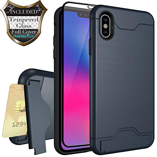 Nuomaofly Case for iPhone Xs Max with Tempered Glass Screen Protector Card Slot Holder Hybrid Kickstand Case for Apple iPhone Xs MAX 6.5 inch 2018 (Blue)