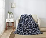 All American Collection New Super Soft Printed Moroccan Trellis Throw Blanket (King Size, Navy Blue)