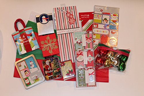 Christmas Holiday Gift Wrapping Bundle - Gift Bags, Gift Card Boxes, Stick on Tags, Tissue Paper, Ribbon