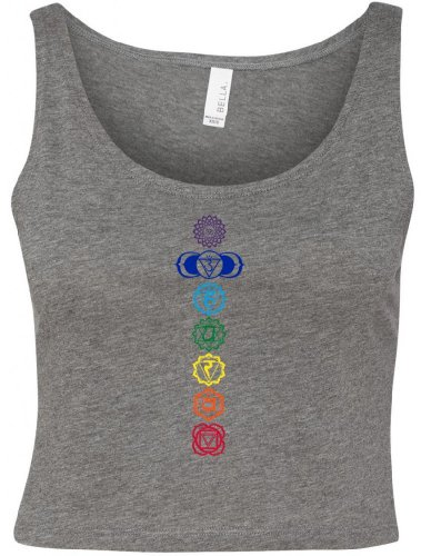 Yoga Clothing For You Ladies Colored Chakras Crop Tank Top Tee, XS/SM Deep Heather Grey For Sale