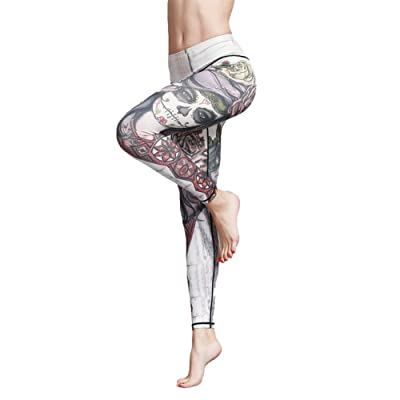 Uskincare Women's Sports Leggings Athletic Pants Girls Printing Leggings Quick-Drying Yoga (L-Cintura 68-72cm, 50-Skeleton Girl White)