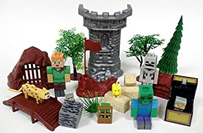 MINECRAFT 20 Piece Play Set Featuring RANDOM Minecraft Character Figures and Themed Accessories