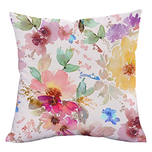 Floral Bed Pillow - Sunm boutique Throw Pillow Cover, Watercolor Floral Pillow Case for Home Decoration, Chic Throw Case, Cushion for Sofa Couch Bed Travelling, Soft Polyester Peach Material, Standard Size 18