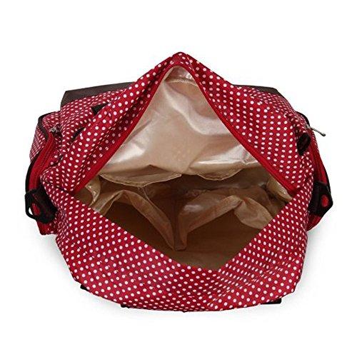 Fieans Fashion Multifunktionale Oxford Tuch Mummy Wickeltasche Babytasche Mama Handtasche Weekender Bag + Baby Change Pad + Flasche Taschen-Rot Polkadot