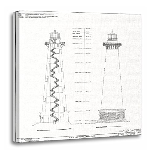 Cape Hatteras Lighthouse Canvas - TORASS Canvas Wall Art Print Schematic Cape Hatteras Lighthouse Blueprint Diagram Artwork for Home Decor 20