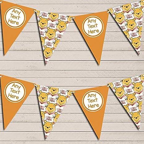 Winne The Pooh Orange Personalized Childrens Birthday Bunting Garland Banner Decoration