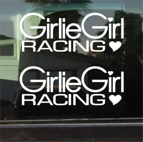 Yilooom Bumper Sticker for Cars, Trucks, Laptops - Girlie Girl Racing Vinyl Die Cut Sticker Pair ()