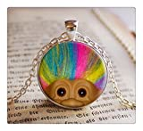 Troll Doll WITH RAINBOW Hair Pendant/Necklace Jewelry, Fine Art Necklace Jewelry, Troll Photo Jewelry Glass Pendant Gift