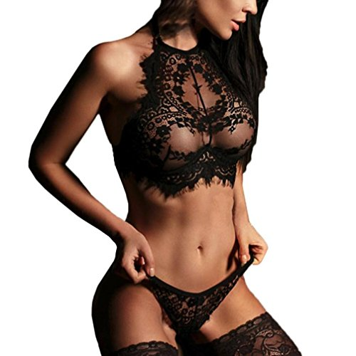 XILALU Fashion Women Sexy Lace Lingerie Teddy Flowers Push up Top Bra Pants High Neck Bodysuit Nightgown Set (M, Black)