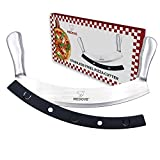 xo spatula - Pizza Cutter Super Sharp Blade Double Handled Stainless Steel Rocking Knife Perfect Grip Simple Cut Perfect Slices by Medove