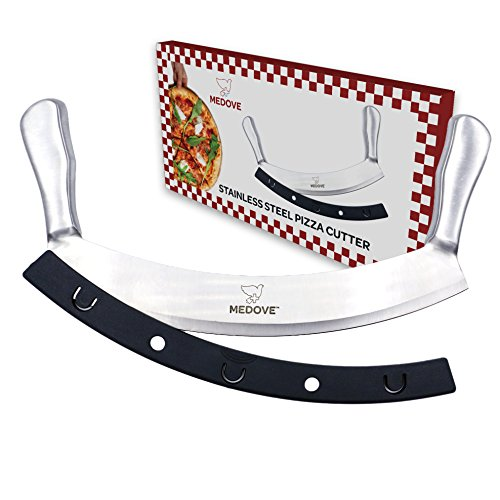 Stainless Steel Mezzaluna (Mezzaluna Chopper, Pizza Rocker Cutter - Super Sharp Blade Double Handled Stainless Steel 12 Inch Knife Fruit, Vegetable Chopper Secure Grip Simple Cut Perfect Slices by Medove)