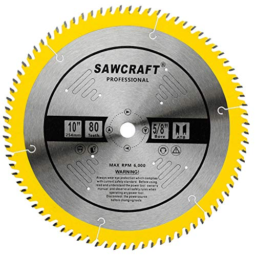 (Sawcraft 10 inch 80 Tooth ATB Finish Hard & Soft Wood Saw Blade General Wood Cutting Saw Blade Circular Blade with 5/8