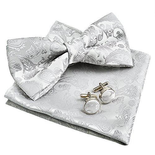 Silver Mens Bowties (Men's Paisley Bow Tie& Hanky& Cufflinks Set (Silver))
