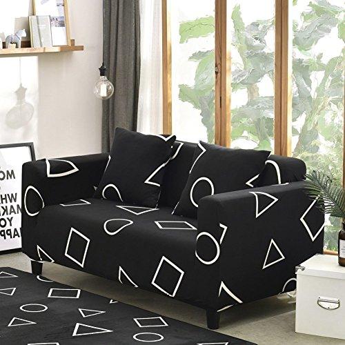DW&HX European style stretch sofa cover,Dirt-proof Non-slip Sofa cushioning,Four seasons sofa slipcover without pillowcase-Black love seat