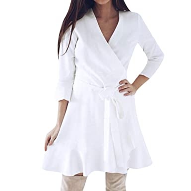 766bf36a73fc Robemon♚Fashion Manches Longues Col V Wrap Conception Robe Femme Exquis Femme  Robe Date Parti