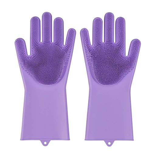 Wolblix Silicone Kitchen Magic Gloves for Dishwashing Rubber Dish Washing with Brush Cleaning Scrubber – 1 Pair (Multicolour) (B07W6QG2VW) Amazon Price History, Amazon Price Tracker