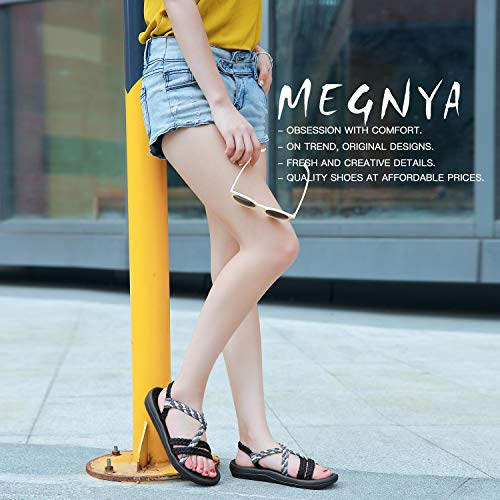 MEGNYA Women's Comfortable Flat Walking Sandals with Arch Support Waterproof for Walking/Hiking/Travel/Wedding/Water Spot/Beach. 19ZDME02-W17-5 Black Grey