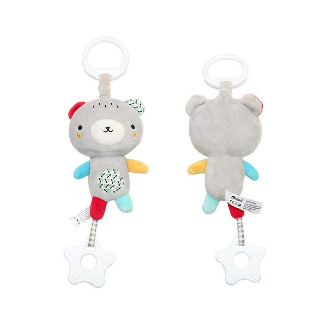 Baby Pendant Plush Toy Musical Hanging Plush Toy Cartoon Bear Animal Kids Toy Travel Activity Music with Soft Teether for Baby